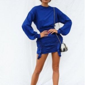 Royal Blue ruched long sleeve dress.